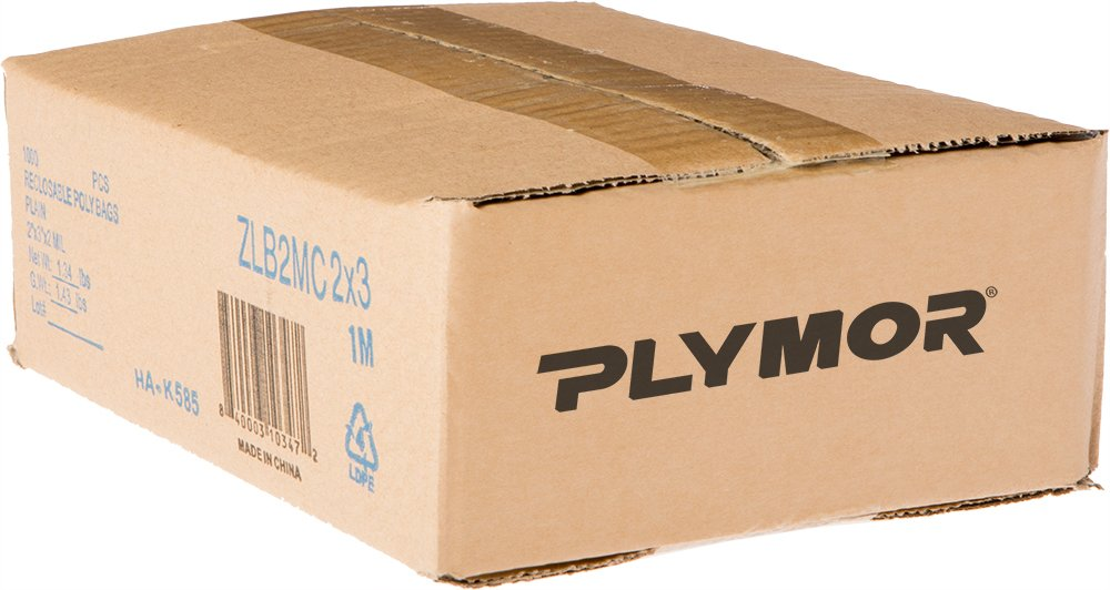 Plymor 2'' x 3'', 2 Mil (Case of 1000) Zipper Reclosable Plastic Bags