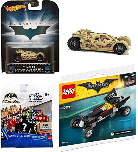 Hot Wheels Tumbler Camo Retro & Lego Mini Batmobile with DC Comics Batman Unlimited Mighty Minis Figure Blind Box