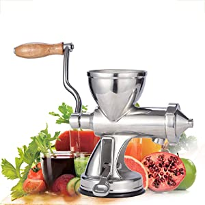 Tuuertge Manual Juicers Manual Stainless Steel Wheat Grass Juicer Fruit and Vegetable Ginger Pomegranate Juice Hand Squeezer (Color : Silver, Size : 12x25x36cm)