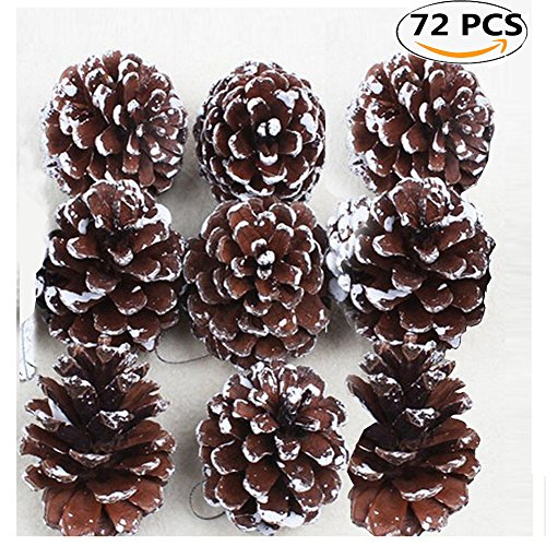 Christmas Pine Cones, Coxeer 72Pcs Christmas Hanging Pinecone Ornaments Xmas Tree Ornaments Party Supplies Pine Christmas Trees