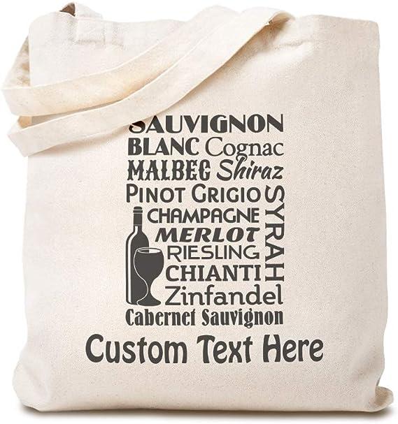 Custom Canvas Tote Shopping Bag Sauvignon Blanc Cognac Mable Shiraz Pinot Food & Beverage Drink