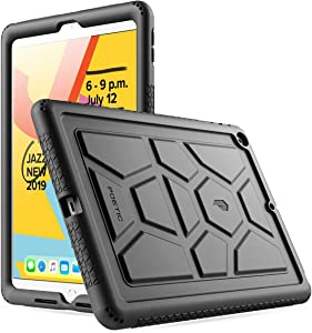 iPad 10.2 2019 Tablet Case, Poetic Heavy Duty Shockproof Kids Friendly Silicone Case Cover, TurtleSkin Series, for Apple iPad 10.2 inch (7th Gen, 2019 Release), Black