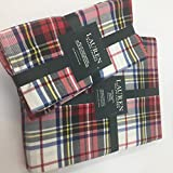 Lauren Ralph Lauren Gretchen Tartan Ivory Tablecloth 60 x 120 Oblong + Set 4 Napkins Bundle