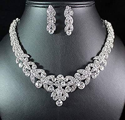 Janefashions Floral Clear Austrian Rhinestone Crystal Necklace Earrings Set Bridal Prom N1601 Silver