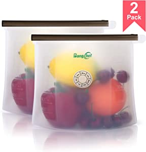 Reusable Food Storage Bag, 100% Silicone-Day Dial-Airtight Seal Keeps Your Food Fresh Longer, 45-ounce (7x9.5-inch), 2 Pack Clear - BangChef
