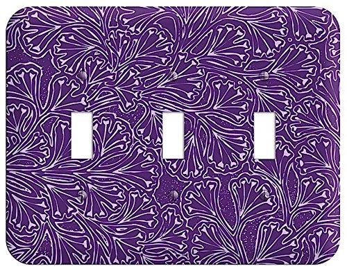 (Deco Purple Interlocking Floral Triple Toggle Switchplate)