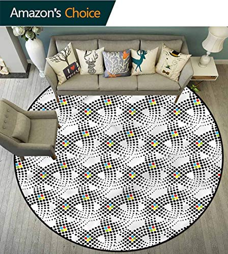 RUGSMAT Abstract Print Area Rug,Dots Contrast Colors Protect Floors While Securing Rug Making Vacuuming Round-63