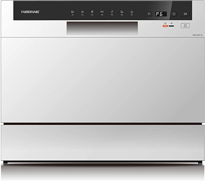 Amazon Com Farberware Professional Fcd06abbwha Compact Portable Countertop Dishwasher With 6 Place Settings And Silverware Basket Led Display Energy Star White Appliances