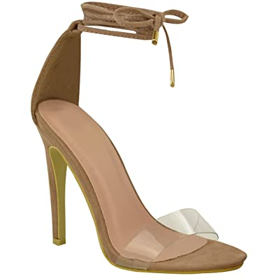4002e8134fa Fashion Thirsty Womens High Heel Barely There Clear Perspex Ankle Strappy  Sandals Size 5