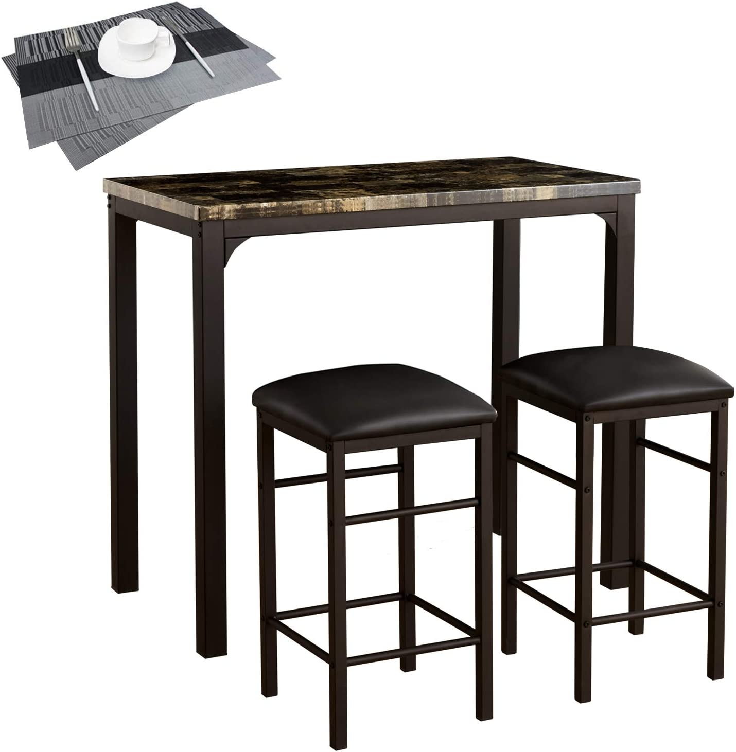 3 Pieces Pub Table Set with Faux Marble Top /& 2 Cushioned Bar Stools Metal Frame