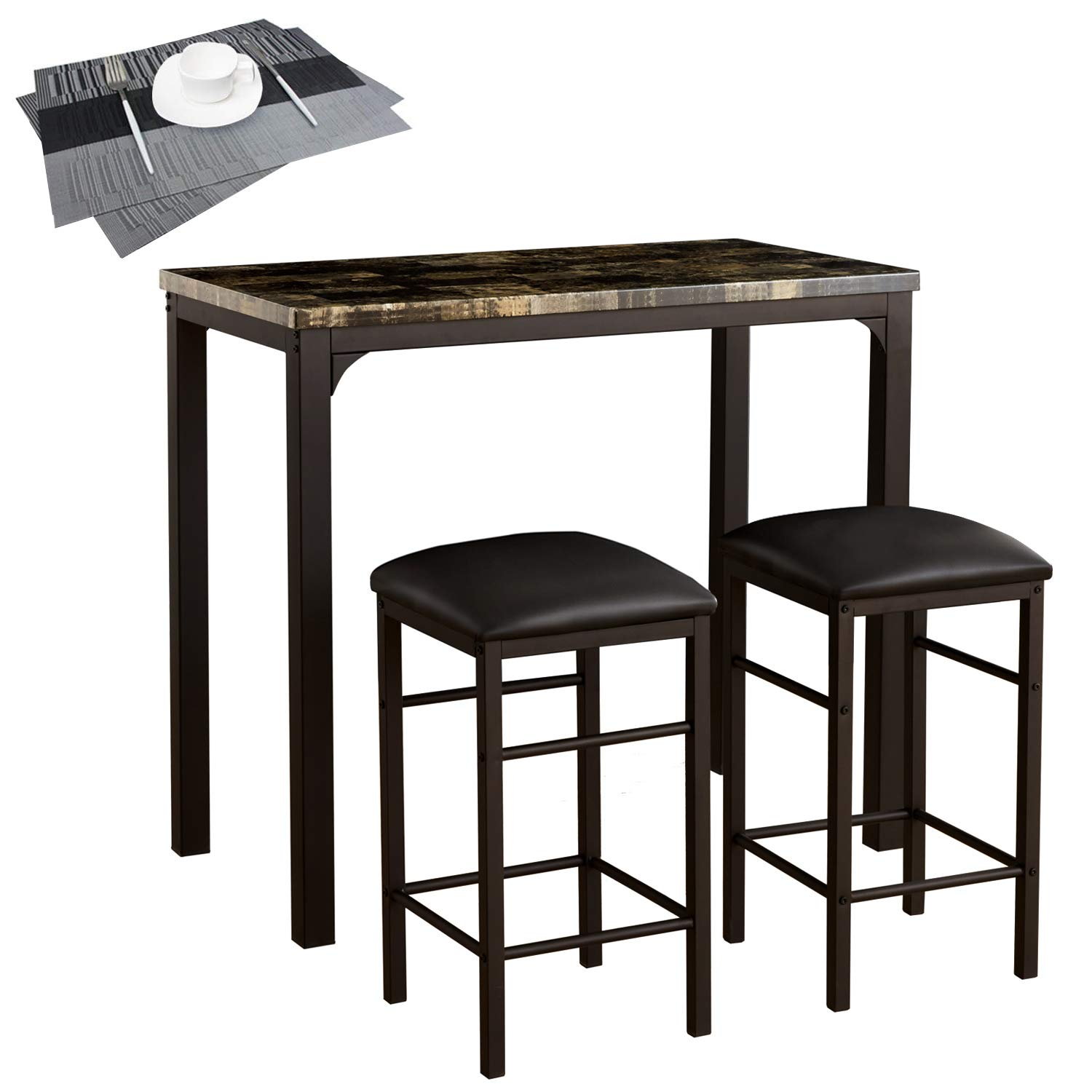VECELO Faux Marble Dining 3-Pieces High/Pub Table Set with 2 Bar Stools-2 Placemats Included, Black by VECELO