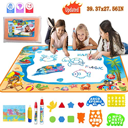 TTOUADY Water Doodle Mat Color Drawing Board, Sea World Aqua Magic Mats Educational Learning Toys Birthday Xmas Gift, Toys for 2 3 4 5 6 7 Years Old Girls Boys Toddler Kids 3 Pens 8 Molds (40