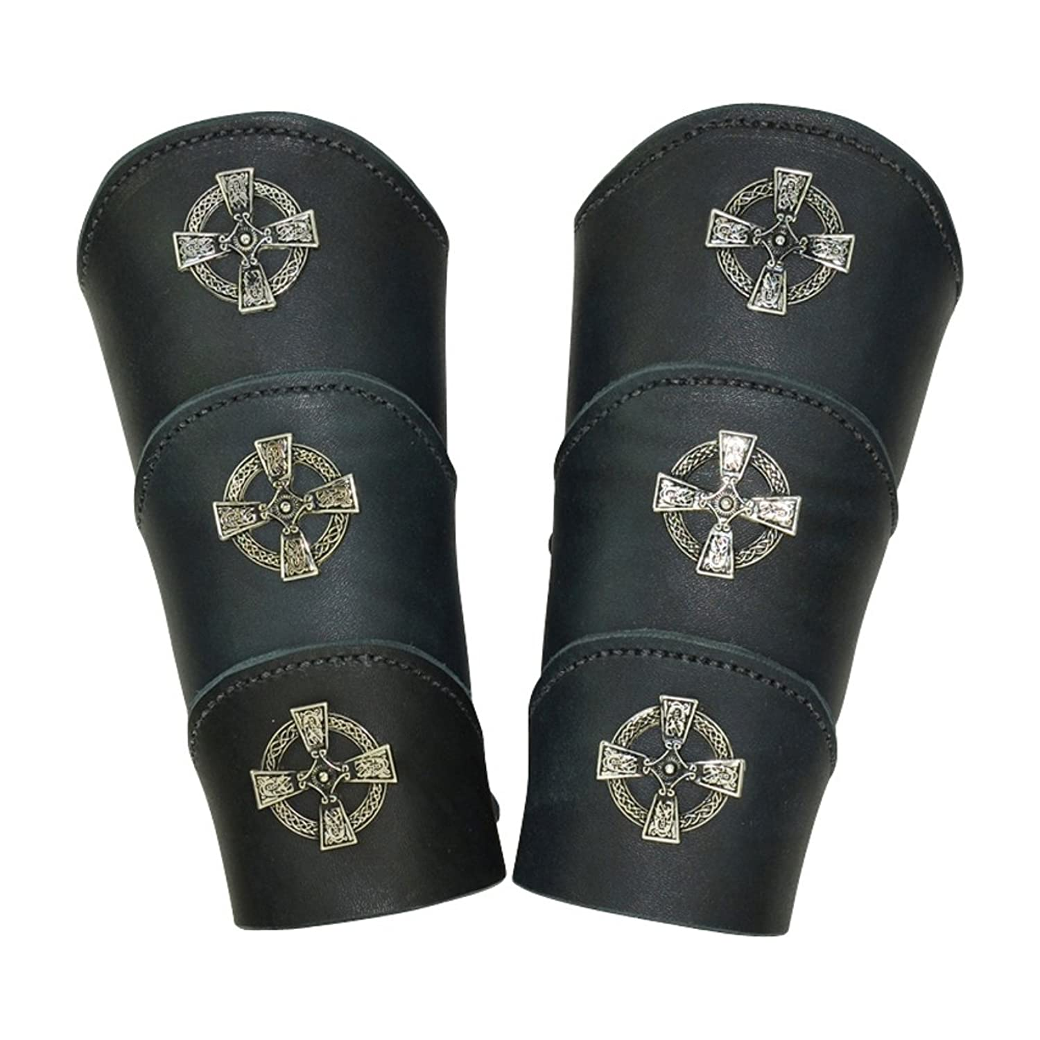 Deluxe Adult Costumes - Celtic warrior pirate black leather bracer arm guards.