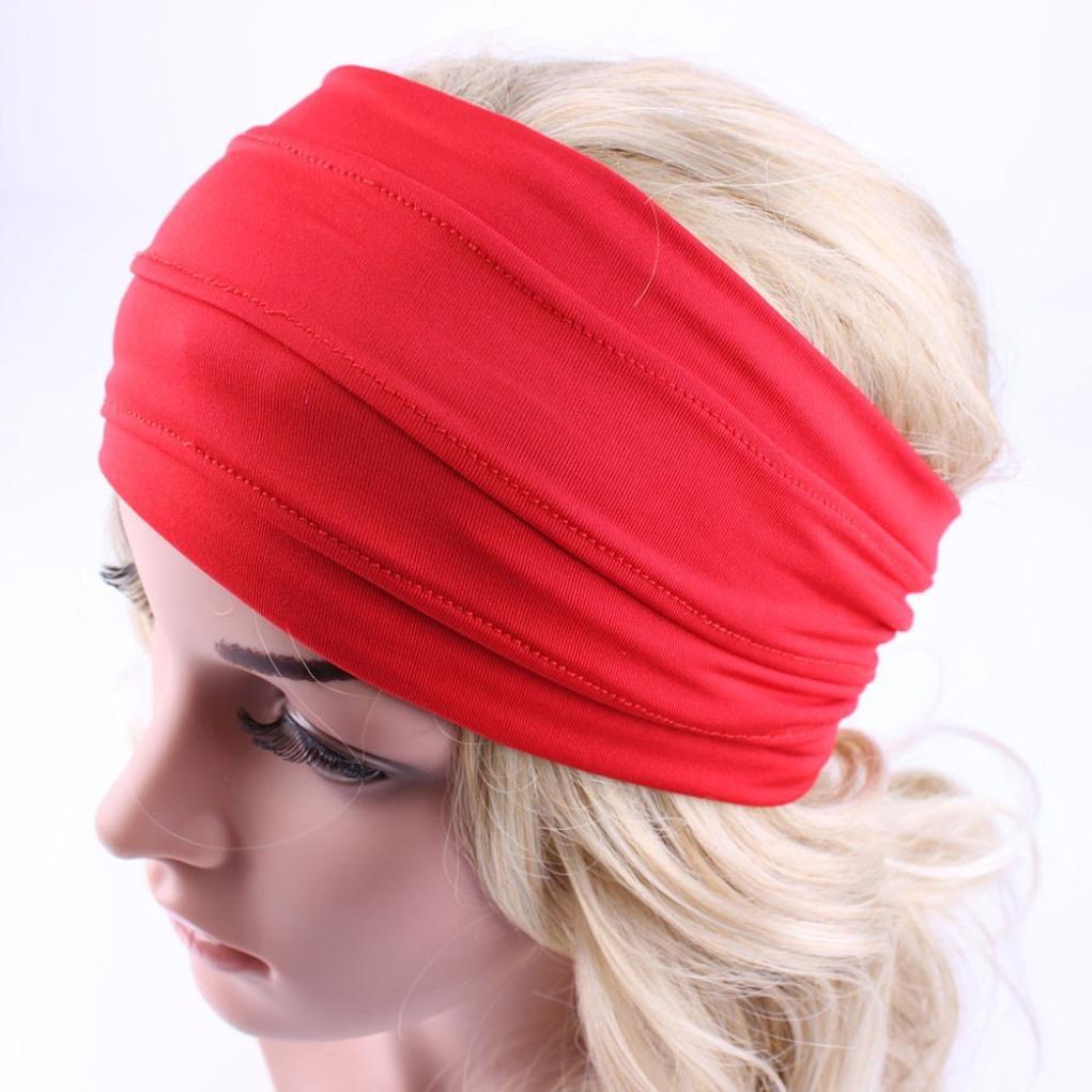 Gillberry Wide Headband Yoga Headband Boho Headband Running Headband Womens Hair Headwrap Nonslip Headband (Red)