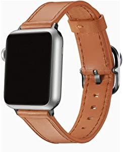 EAVAE Watch Bands Compatible with Apple Watch Bands 40mm 38mm, Light Brown Leather Replacement Strap for Apple Watch SE Apple Watch Series6 5 4 3 2 1 Women and Men