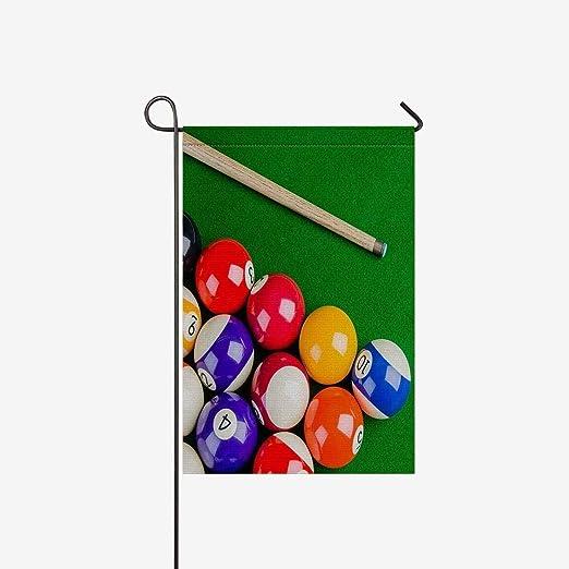 BoloHome Banderas de Jardín Bolas de Billar con Billar Cue Snooker Pool Game House Banner, Bandera Decorativa para Fiesta, Patio, casa, Decoración al Aire Libre, 100 ...