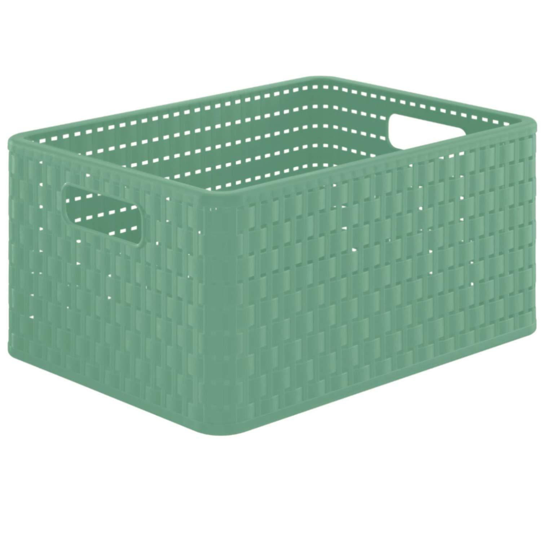 Rotho Country Bo/îte de Rangement en Plastique Imitation rotin Noir Format A4 18 l Box A4 T/ürkis Plastique