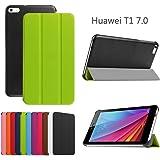 Custodia per HuaWei MediaPad T1 7.0, DEENOR PU pelle Ultra sottile con Smart Auto Sonno / Sveglia la Funzione Custodia Cover per HuaWei MediaPad T1 7.0. (GREEN)