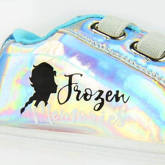 La Reine des Neiges Lot de 2 Chaussures en Toile pour Fille Motif Elsa Disney Brillant Lacets Fixes /élastiques Bleu Ciel Tailles 26 /à 33