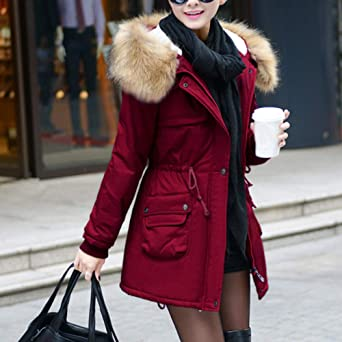 Sunhusing Women Outerwear Long Cotton-Padded Hooded Drawstring Pocket Button Snap Thermal Coats at Amazon Womens Coats Shop