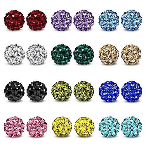 JewelrieShop Rhinestones Crystal Ball Stud Earrings Set Fireball Disco Ball Pave Bead Earrings Hypoallergenic for Teen Girls Women (03. 12 Pairs, 8mm)…