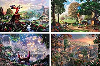 product image for THOMAS KINKADE FANTASIA LADY & THE TRAMP WINNIE THE POOH TANGLED DISNEY DREAMS COLLECTION 4 IN 1 JIGSAW PUZZLE SET 500 pieces