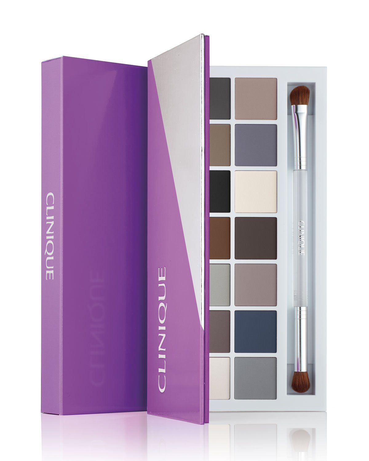 Clinique 2017 Party Eyes - All About Shadow Palette - Set of 14 Shades and Dual-Ended All-Over Brush/Contour Brush
