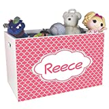 Personalized Moroccan Salmon Childrens Nursery White Open Toy Box