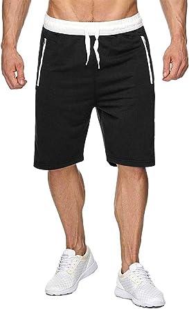 Yamadan Mens Casual Elastic Waist Drawstring Workout Short Pants Knee Length Joggers Summer Gym Shorts with Zipper Pockets