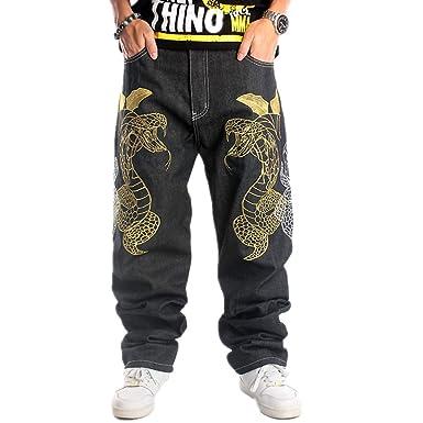 36d7d671 Ruiatoo Mens Jeans Fashion Skateboard Pants Snake Embroidery Baggy Jeans  Hip Hop Denim Black Trousers 30