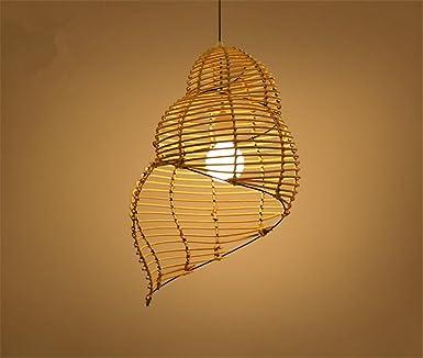 Hm Eclairage De Plafond Luminaires Lustre Suspension Conque Bambou