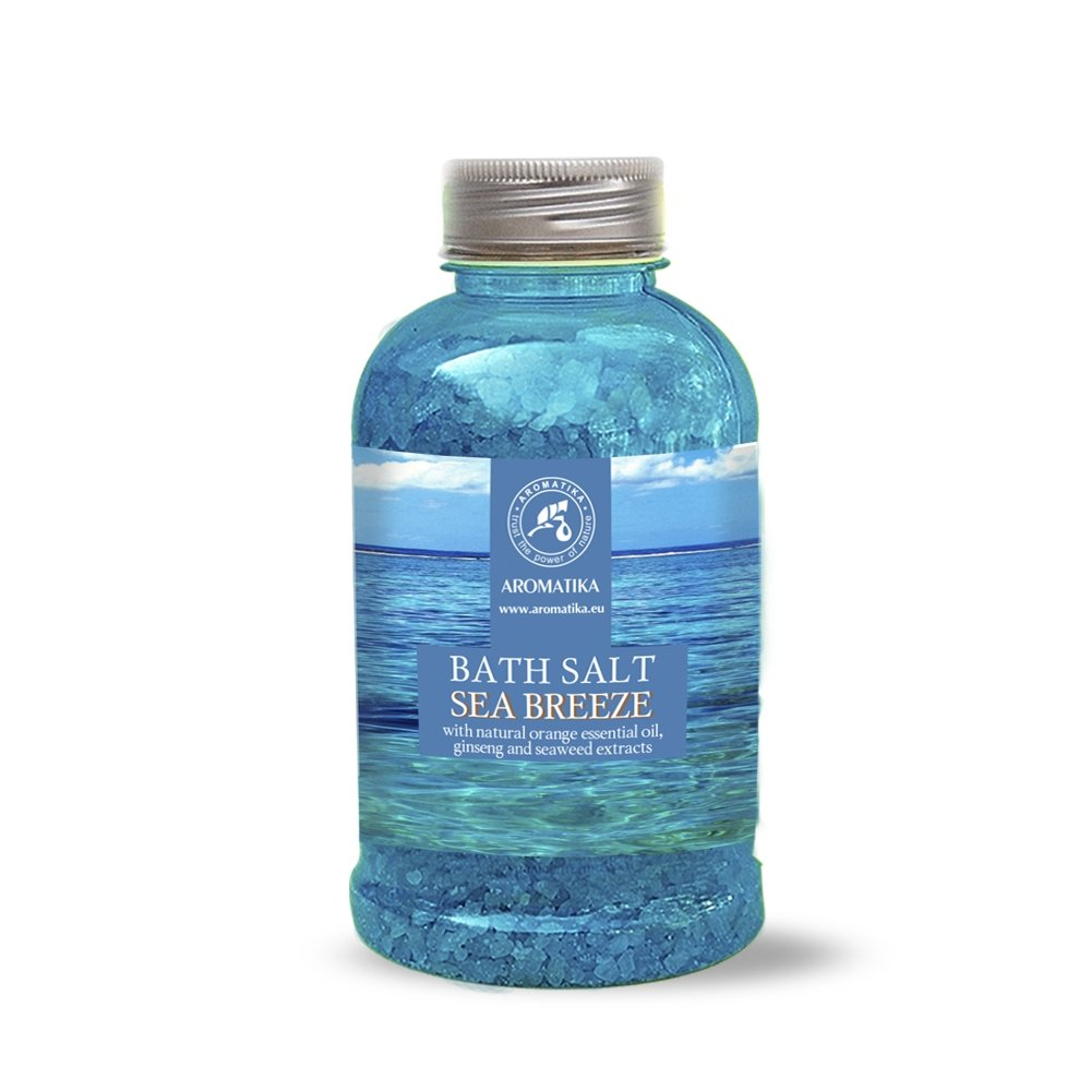 Bath Salt Sea Breeze 600g - Sea Salt w/ Natural Essential Orange Oil & Extracts of Ginseng & Seaweed - Natural Bath Salt Best for Good Sleep - Stress Reduction - Beauty - Bathing - Body Care - Wellness - Beauty - Relaxation - Aromatherapy - Spa - B