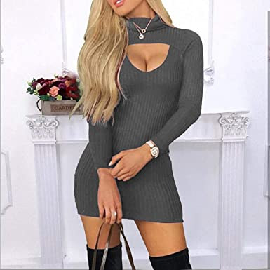 yazidan Damska Kleider, Frauen Sexy Fest Langarm Rollkragen Bodycon Kleid Figurbetontes Gestrickter Party Mini Kleid: Odzież