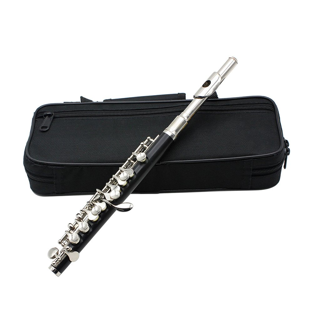 Andoer Piccolo Ottavino Half-size Flute Cupronickel Silver Plated C Key Tone with Cork Grease Polish Cloth Cleaning Stick Padded Box Case Screwdriver C Key Piccolo