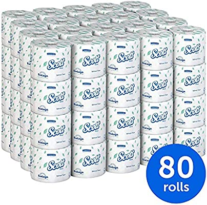 Bulk Toilet Paper >> Scott Essential Professional Bulk Toilet Paper For Business 04460 Individually Wrapped Standard Rolls 2 Ply White 80 Rolls Case 550 Sheets Roll