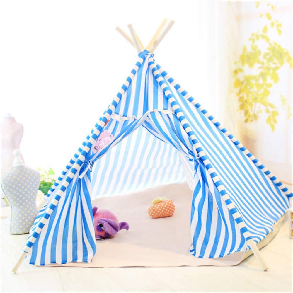 Wuwenw Tenda A Strisce Blu Pentagonale Nido Per Animali Domestici 77X85X72Cm