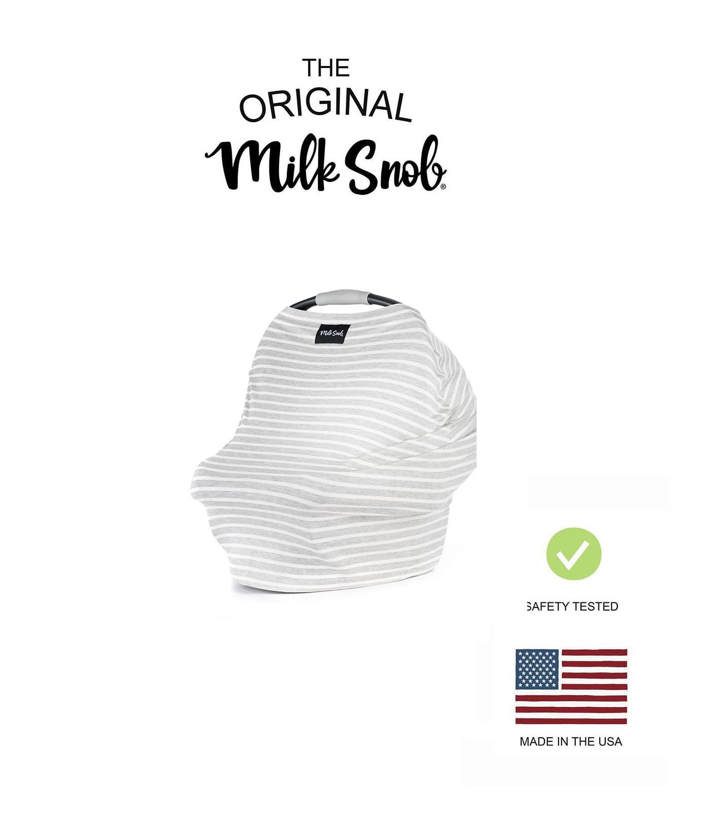 AS SEEN ON Shark Tank The Original Milk Snob Infant Car Seat Cover and Nursing Cover Multi-Use 360° Coverage Breathable Stretchy''Heather Stripe''