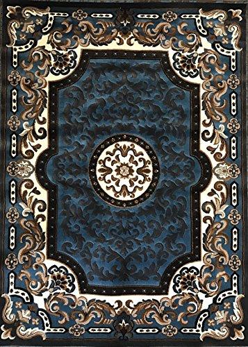 Traditional Area Rug Light Blue Persian Kingdom Design #D123(8ft.X10ft.)