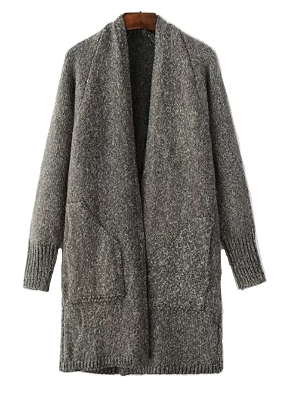 YangYang Womens Solid Open Front Knitted Boyfriend Cardigan Sweater Winter Coat