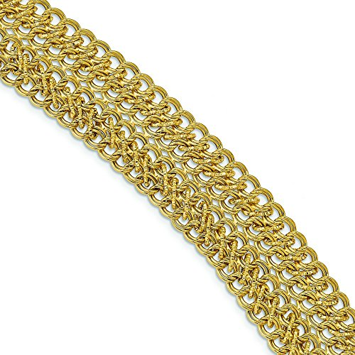 14k Polished Fancy Link Bracelet - 8 Inch by JewelryWeb