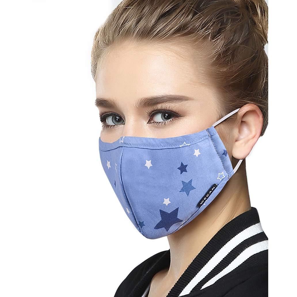 Lyanty Anti-Verschmutzung Mundschutz Maske Staubschut Anti-Allergie Maske PM2.5 Waschbar aus Baumwolle Maske Austauschbar Filter (1 Maske + 8 Filter) WECAN MASK