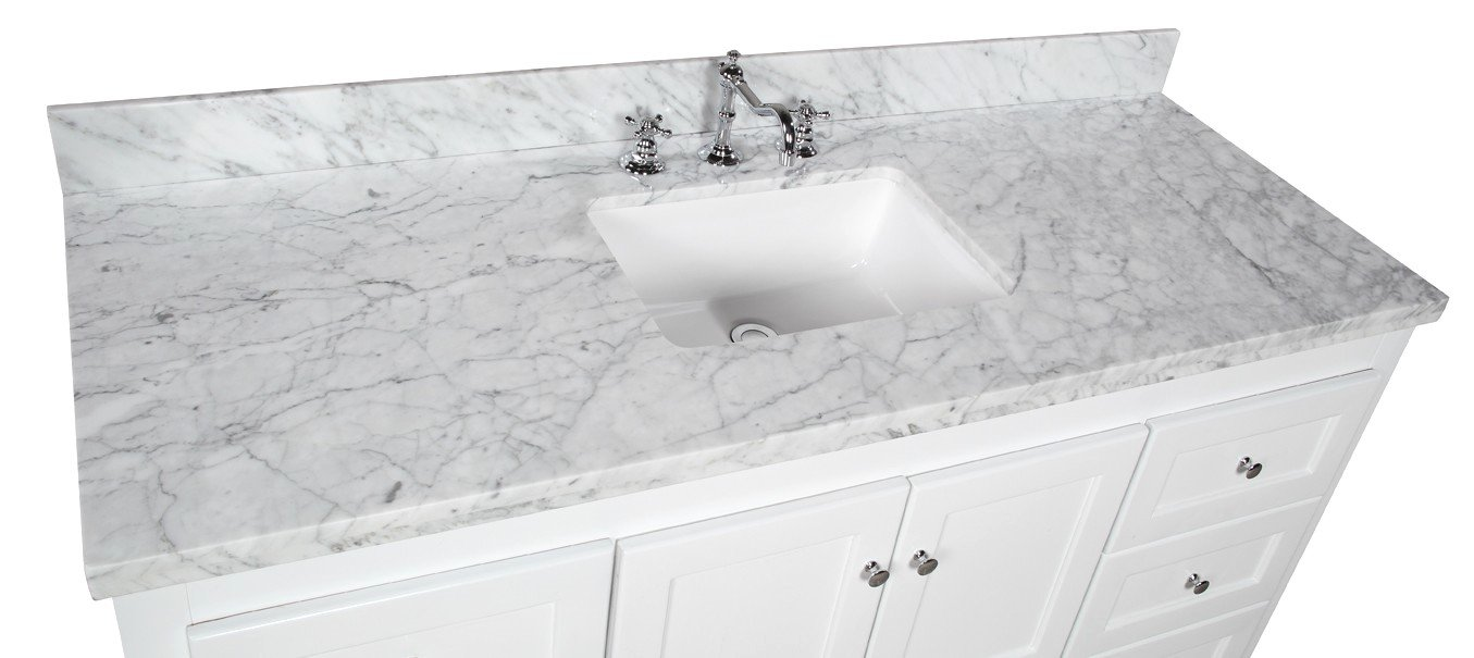 Abbey 60-inch Single Bathroom Vanity (Carrara/White): Includes White Shaker Style Cabinet with Soft Close Drawers & Doors, Italian Carrara Marble Top and Rectangular Ceramic Sink by Kitchen Bath Collection