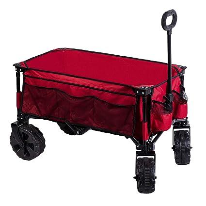 Amazon.com   Timber Ridge Folding Camping Wagon Cart - Collapsible Sturdy  Steel Frame Garden Beach Wagon Cart Heavy Duty   Garden   Outdoor 079bf2c726
