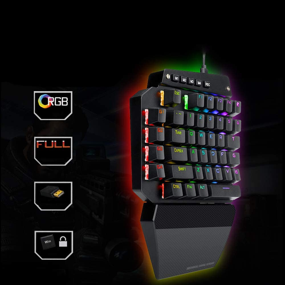 QOUP One-Hand Mechanical Keyboard USB Waterproof Metal Support Backlight Support Shortcut Eat Chicken Game Left Hand Mobile Keyboard