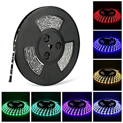 LED light Strip, Nexlux 32.8ft Waterproof IP65 5050 SMD RGB LED Flexible Strip Light Black PCB Board Color Changing Decoration Lighting ( No Power Supply and remote)
