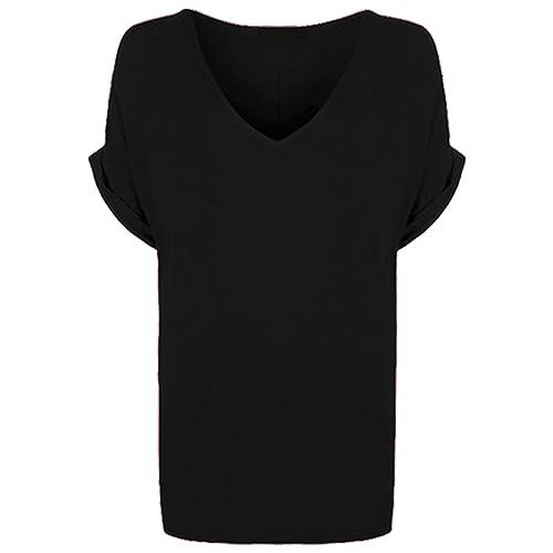 New Ladies Women V Neck Turn Up Short Sleeve Baggy T-Shirt Top Plus Size UK 8-26