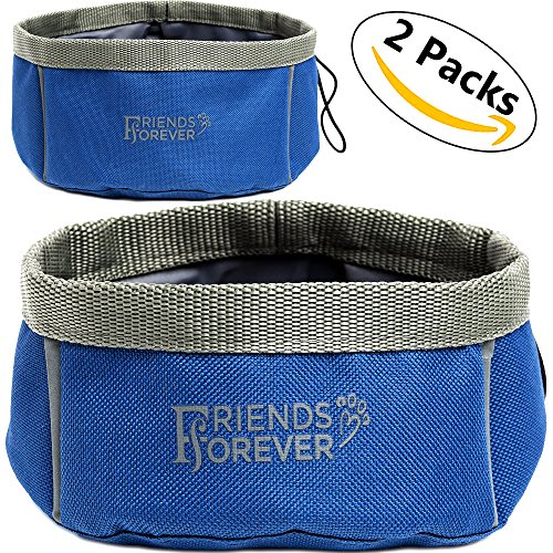 Collapsible Dog Bowl - 2 Pack Travel Dog Bowl, Water and Food Bowls for Dogs - Portable Pet Hiking Accessories by Friends Forever