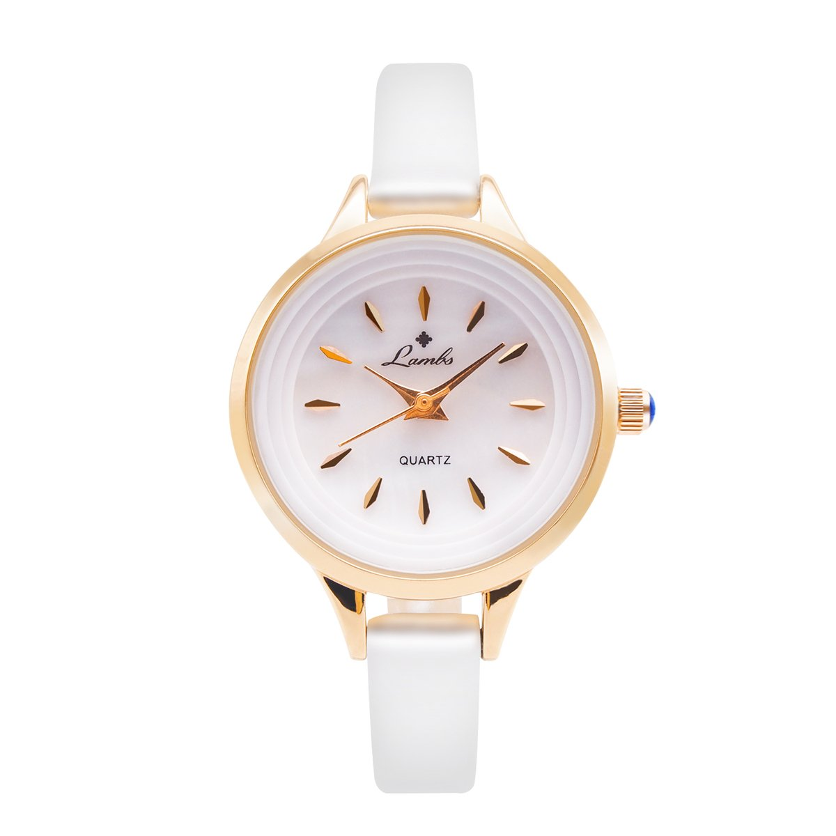 Girls Watches, Ladies Fashion Casual Waterproof Mother-of Pearl Dial Wrist Watches for Woman and Young Girls Easy to Read Times Genuine Leather Band Watches(White)