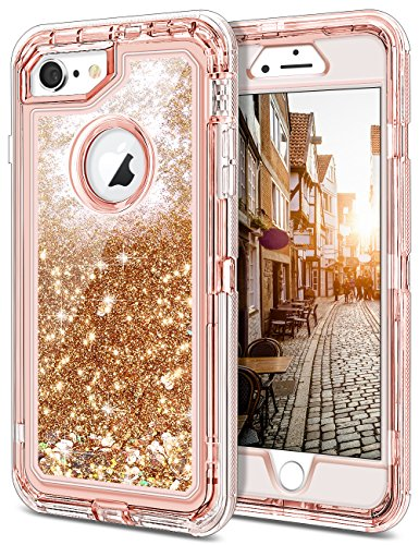 JAKPAK iPhone 6 Case, iPhone 6S Case, Shockproof Glitter Flowing Liquid Bling Sparkle Cover for Girl Woman Heavy Duty Full Body Protective Shell for 4.7