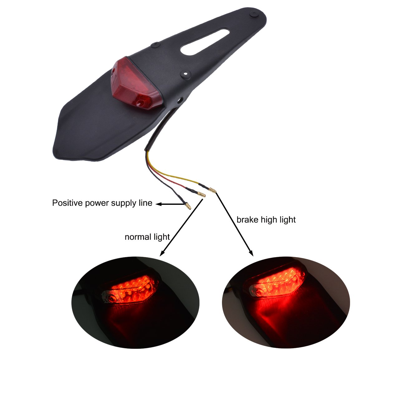 KaTur Rear Fender LED Brake Red Tail Light Lamp with Bracket for Off-Road Motorcycle Motocross Dirt Bike Clear Lens